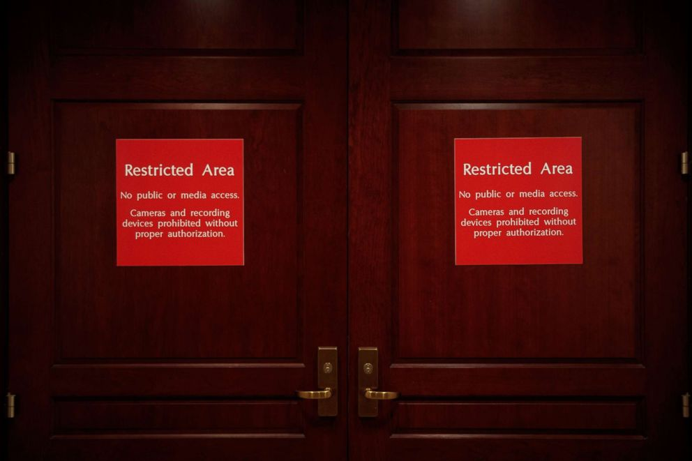 PHOTO:The doors to the House Permanent Select Committee on Intelligence on Capitol Hill, where members of the committee have met with several witnesses over time in regard to their investigation into Russian election meddling.