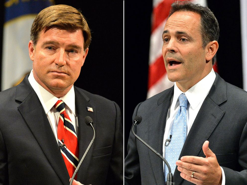 PHOTO: Kentucky Democratic gubernatorial candidate Jack Conway during the Kentucky Gubernatorial Debate Oct. 6, 2015, in Danville, Ky. Matt Bevin during the Kentucky Gubernatorial Debate Oct. 6, 2015, in Danville, Ky.