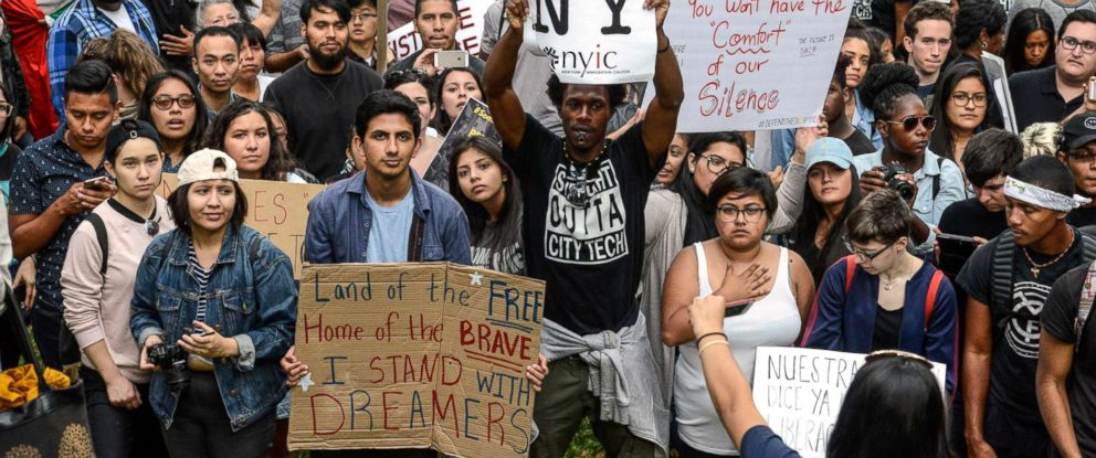 PHOTO: People participate in a protest in defense of the Deferred Action for Childhood Arrivals program or DACA in New York, Sept, 9, 2017.