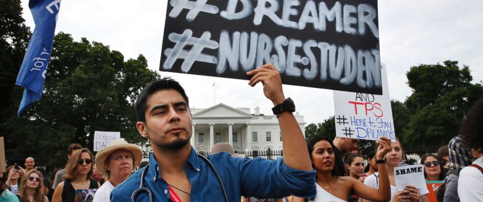 PHOTO: Carlos Esteban, 31, of Woodbridge, Va., a nursing student and recipient of Deferred Action for Childhood Arrivals, known as DACA, rallies with others in support of DACA outside of the White House, in Washington, Sept. 5, 2017.
