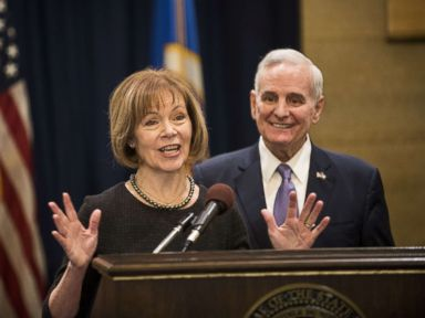 PHOTO: Minnesota Lt. Governor Tina Smith fields questions after being named the replacement to Sen. Al Franken by Governor Mark Dayton, Dec. 13, 2017, at the Minnesota State Capitol in St. Paul, Minn.