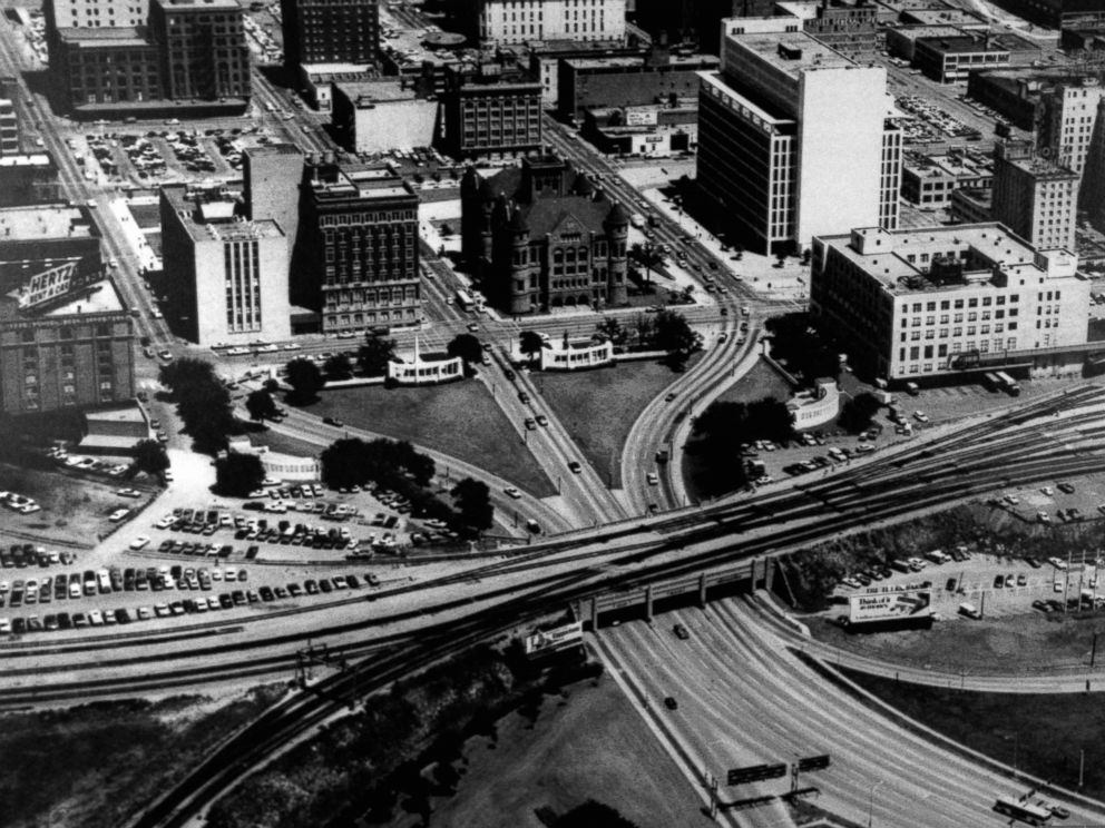 PHOTO: Aerial view of Dealey Plaza in Dallas, Texas, where President John F. Kennedy was assassinated on Nov. 22, 1963.