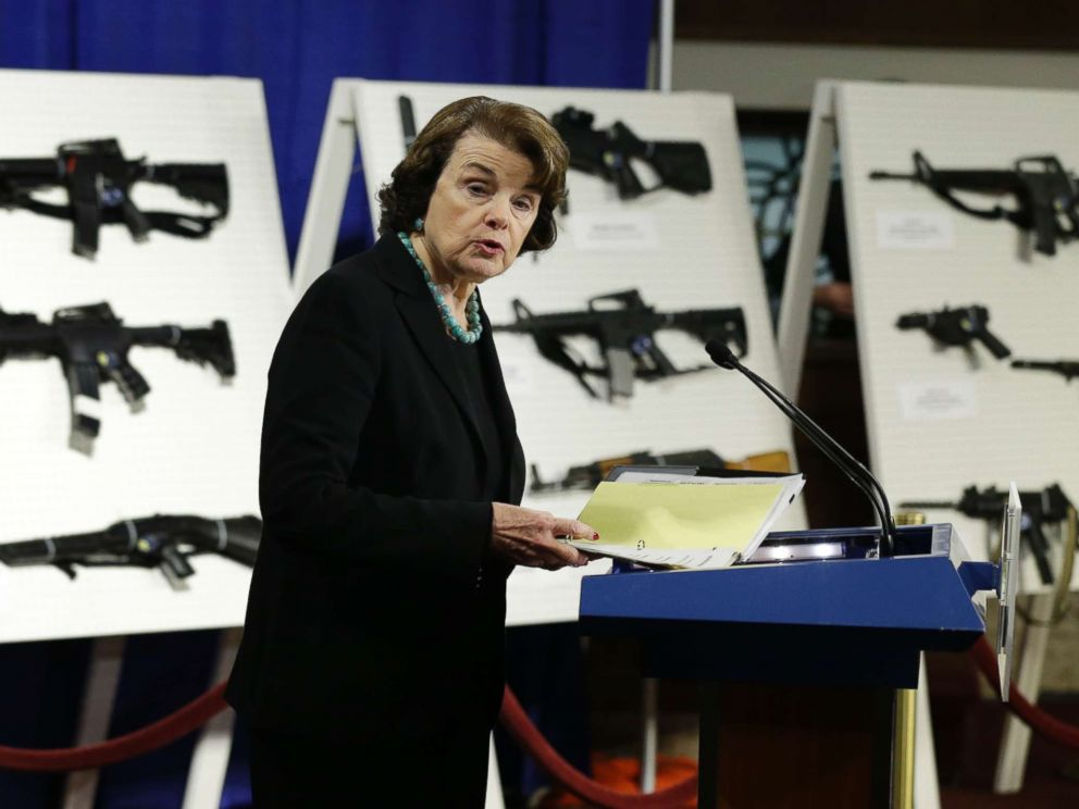 Sen. Dianne Feinstein, D-Calif. speaks during a news conference on Capitol Hill, Jan. 24, 2013, to introduce legislation on assault weapons and high-capacity ammunition feeding devices.