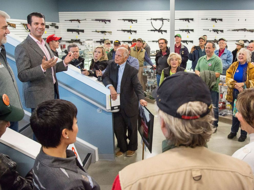 PHOTO: Donald Trump Jr. speaks to supporters of his father, presidential candidate Donald Trump, at Howells Gun Shop in Gray, Oct. 25, 2016.