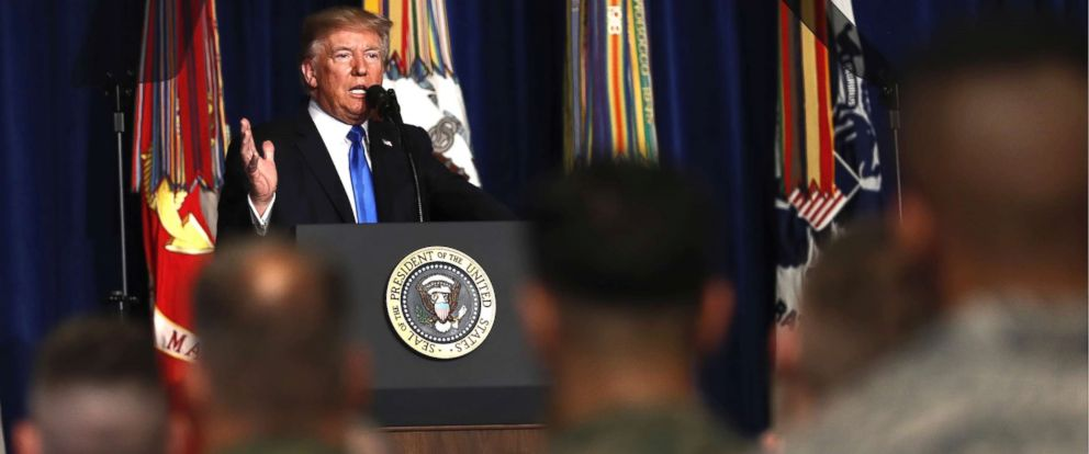 PHOTO: President Donald Trump speaks at Fort Myer in Arlington, Virginia, Aug. 21, 2017.