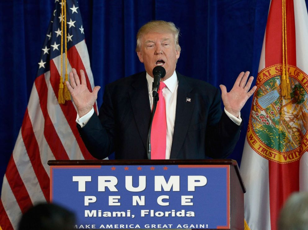 PHOTO: Republican presidential candidate Donald Trump holds a press conference at Trump National Doral, on July 27, 2016, in Doral, Fla.