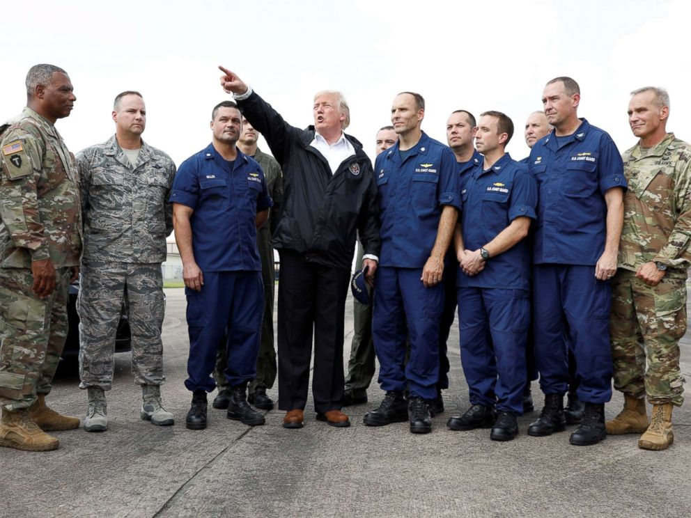 PHOTO: President Donald Trump speaks with troops and members of the United States Coast Guard at Ellington Field, in Houston, Sept. 2, 2017.