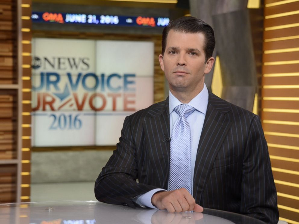 PHOTO: Donald Trump Jr. speaks with David Muir from ABC News, June 21, 2016.