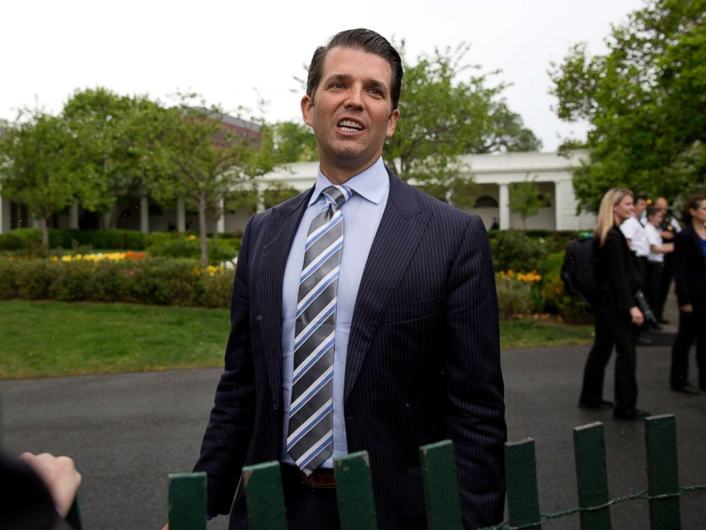 PHOTO: Donald Trump Jr., the son of President Donald Trump, speaks to media on the South Lawn of the White House in Washington, April 17, 2017.