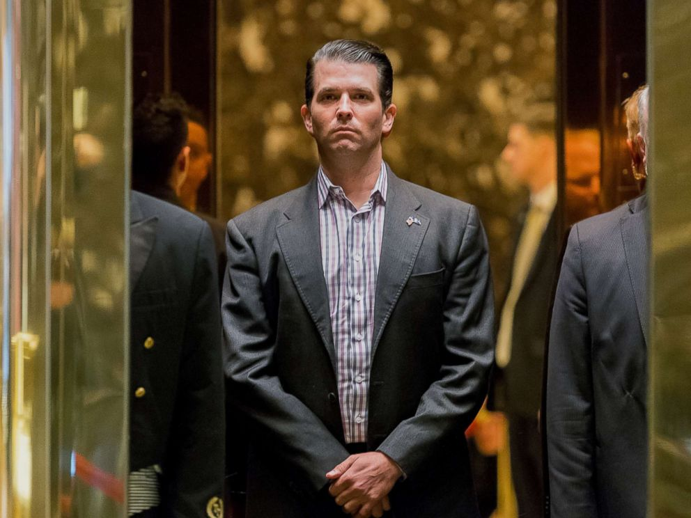 Donald Trump Jr., stands in an elevator at Trump Tower in New York, Jan. 18, 2017.