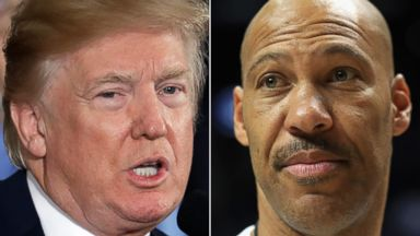 'PHOTO: Donald Trump speaks1_b@b_1the White House, Oct. 26, 2017 and Lavar Ball is seen Aug. 13, 2017 in Los Angeles.' from the web at 'http://a.abcnews.com/images/Politics/donald-trump-lavar-ball-ap-thg-171120_16x9t_384.jpg'