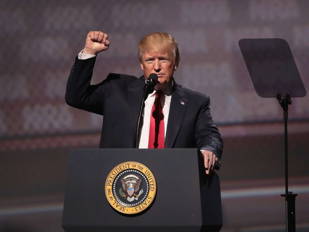 PHOTO: President Donald Trump speaks at the NRA-ILAs Leadership Forum at the 146th NRA Annual Meetings & Exhibits, April 28, 2017 in Atlanta.