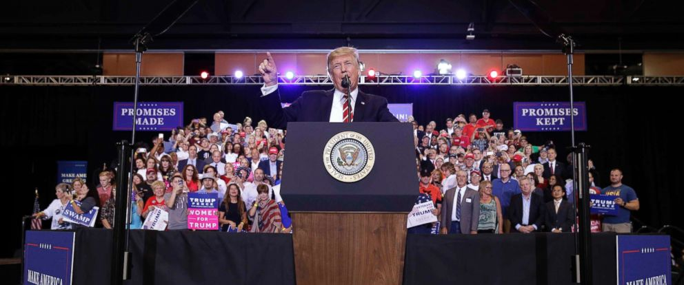 PHOTO: President Donald Trump speaks at a campaign rally in Phoenix, Aug. 22, 2017.