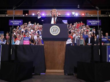 Trump defends Charlottesville response, lashes out at critics at combative rally