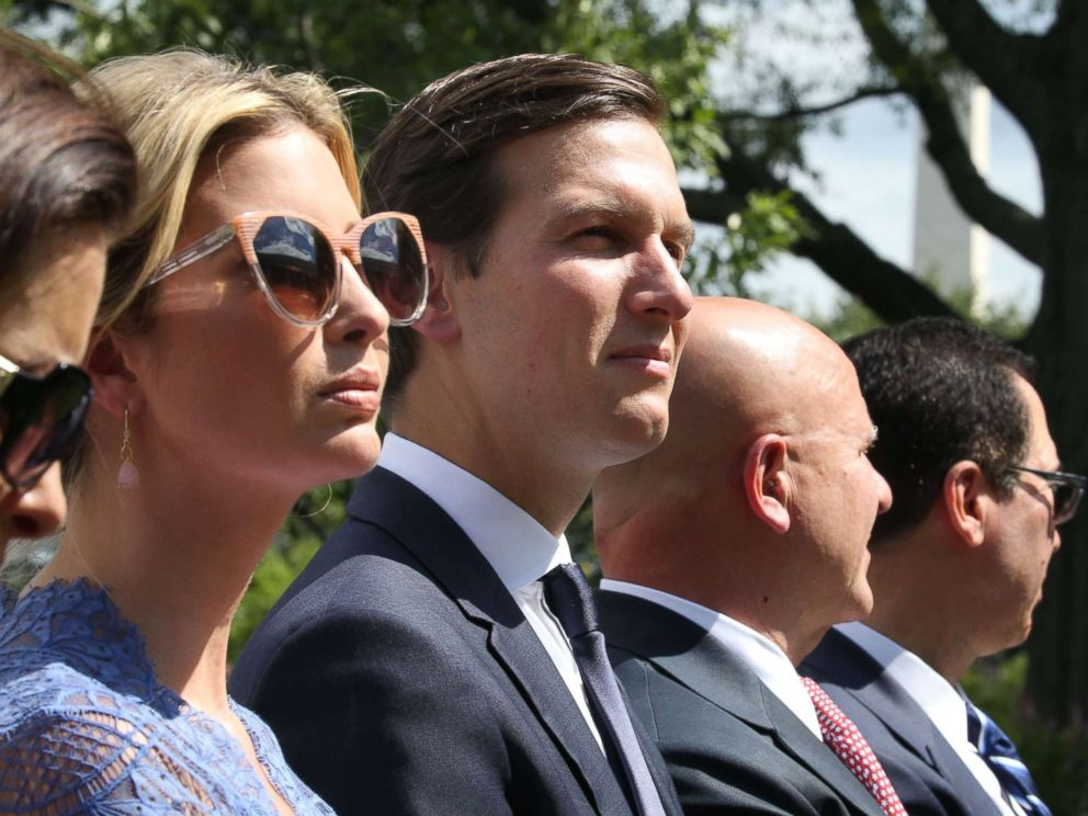PHOTO: Ivanka Trump and Jared Kushner listen as President Donald Trump holds a news conference with Prime Minister of Lebanon Saad Hariri, in the Rose Garden at the White House on July 25, 2017.
