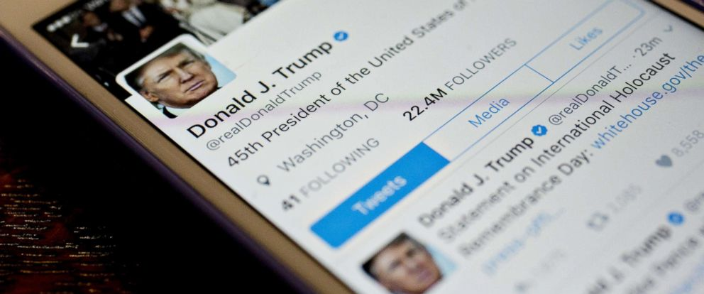 PHOTO: The Twitter account of President Donald Trump, @realDoanldTrump, is displayed in Washington, D.C., on Jan. 27, 2017.