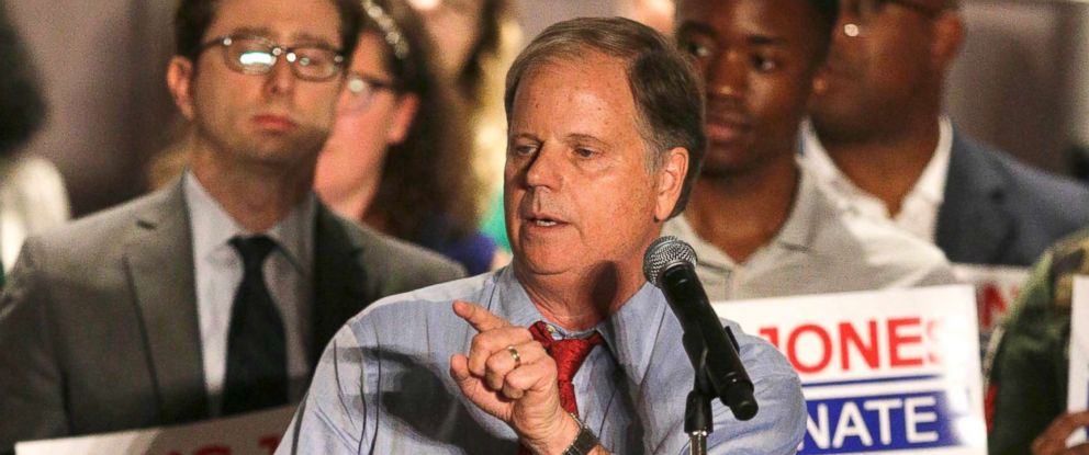 PHOTO: Democrat Doug Jones speaks at a campaign rally the race to fill Attorney General Jeff Sessions former Senate seat, Oct. 3, 2017, in Birmingham, Ala.