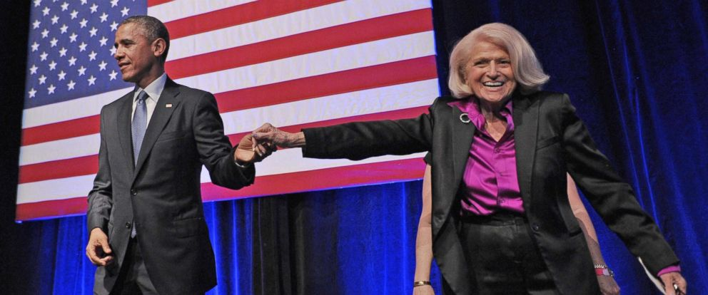 PHOTO: President Barack Obama holds hands with Edie Windsor after she introduced him during the Democratic National Committee LGBT Gala at Gotham Hall on June 17, 2014 in New York.