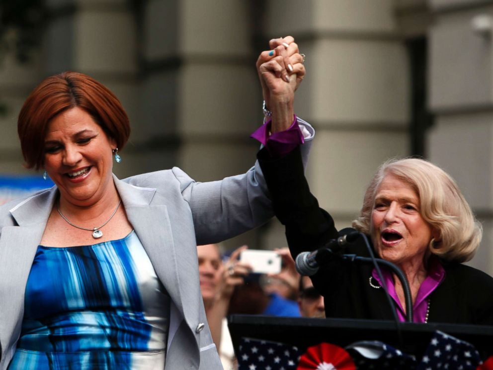 PHOTO: New York City Council Speaker Christine Quinn, left, and Edie Windsor, plaintiff in United States v. Windsor, join their supporters as they gather to celebrate two decisions by the U.S. Supreme Court during a rally in New York, June 26, 2013.