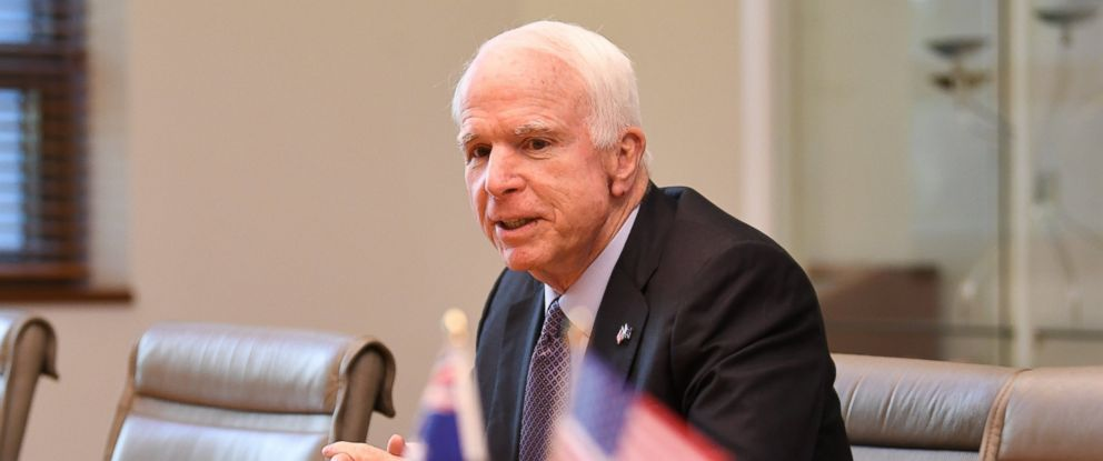 PHOTO: Senator John McCain speaks during a meeting with Australian Foreign Minister Julie Bishop (not pictured) at Parliament House in Canberra, Australia, May 29, 2017.