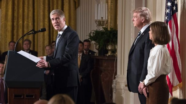 PHOTO: Judge Neil Gorsuch delivers remarks after President Donald J. Trump announced his nomination to the Supreme Court in the East Room of the White House, Jan. 31, 2017.  At right is Gorsuch's wife Marie Louise.