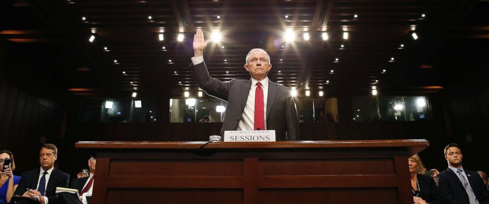 PHOTO: Attorney General Jeff Sessions is sworn in to testify before the Senate Intelligence Committee in the Hart Senate office Building in Washington, D.C., June 13, 2017.
