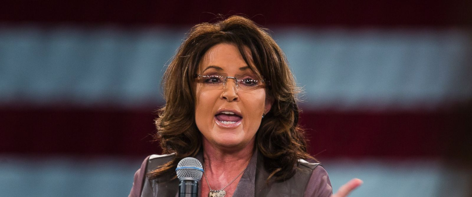 PHOTO: Former Alaska Governor Sarah Palin speaks at a campaign event for Republican presidential candidate Donald Trump at the Tampa Convention Center in Tampa, Fla., on March 14, 2016.