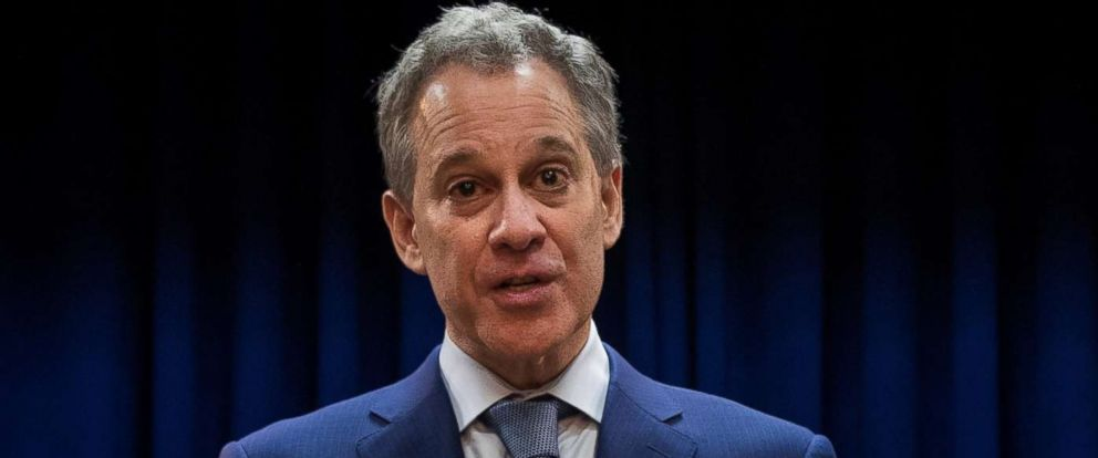 PHOTO: New York State Attorney General Eric Schneiderman speaks a press conference, Aug. 3, 2017 in the Brooklyn borough of New York.