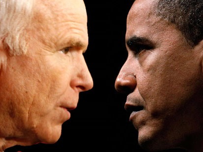 Pic image of Sens. Barack Obama and John McCain face-to-face during the 2008 presidential campaign.