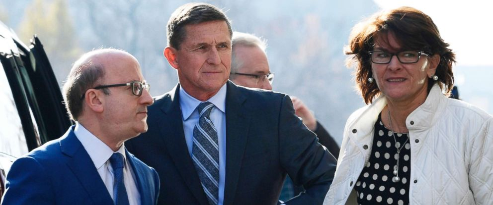 PHOTO:Former Trump national security adviser Michael Flynn, center, arrives at federal court in Washington, Friday, Dec. 1, 2017. At left is his attorney,Robert Kelner. Flynns wife, Lori Andrade, is at right.