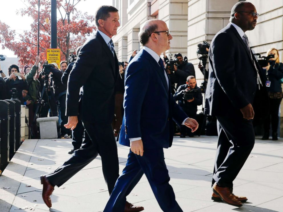 PHOTO:Former U.S. National Security Adviser Michael Flynn, left, with his attorney Robert Kelner, center, as he arrives for a plea hearing at U.S. District Court in Washington,D.C., Dec. 1, 2017.