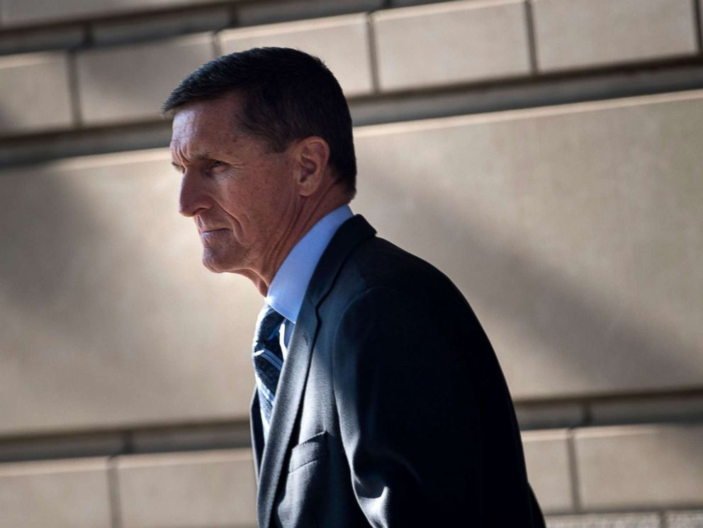 PHOTO: Gen. Michael Flynn, former national security adviser, leaves Federal Court Dec. 1, 2017 in Washington, DC, after he pleaded guilty to one count of lying to the FBI about his back-channel negotiations with the Russian ambassador.