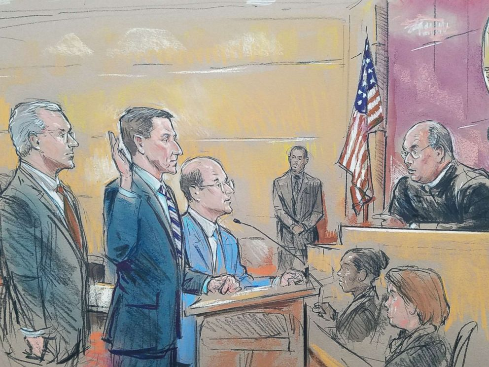 PHOTO: Courtroom sketch showing former National Security Adviser Michael Flynn standing between his two lawyers today as he appeared before Federal Judge Rudolph Contreras during his appearance in court.