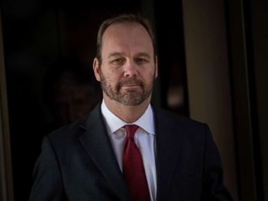 PHOTO: Former Trump campaign official Rick Gates leaves Federal Court, Dec. 11, 2017, in Washington, D.C.
