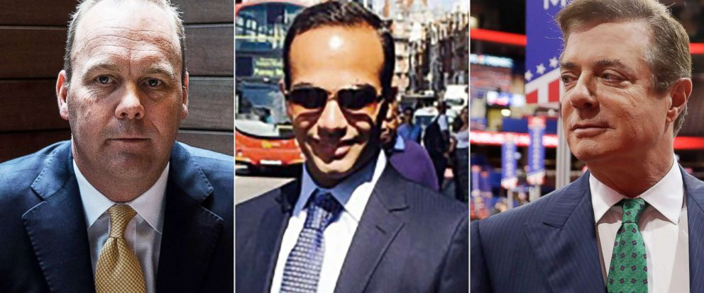 PHOTO: Rick Gates poses in New York, April 24, 2017|George Papadopoulos is seen in an undated photo|Paul Manafort talks to reporters on the floor of the Republican National Convention in Cleveland, July 17, 2016.