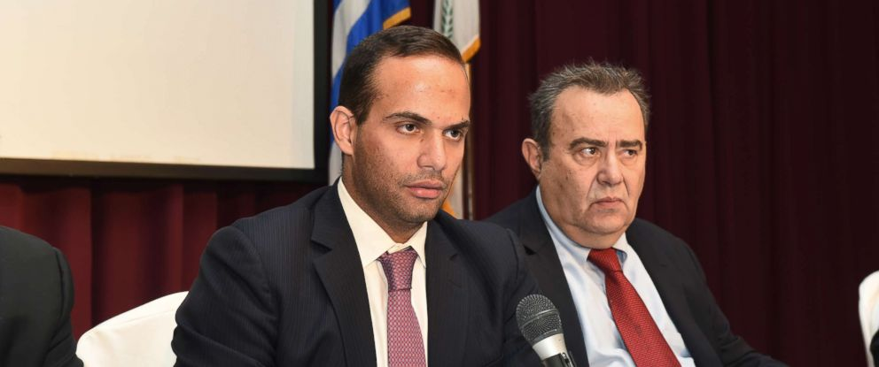 PHOTO: George Papadopoulos, left, speaks at an event in Astoria, N.Y., Nov. 6, 2016. At right is Dr. Michael Katehakis of Rutgers University.
