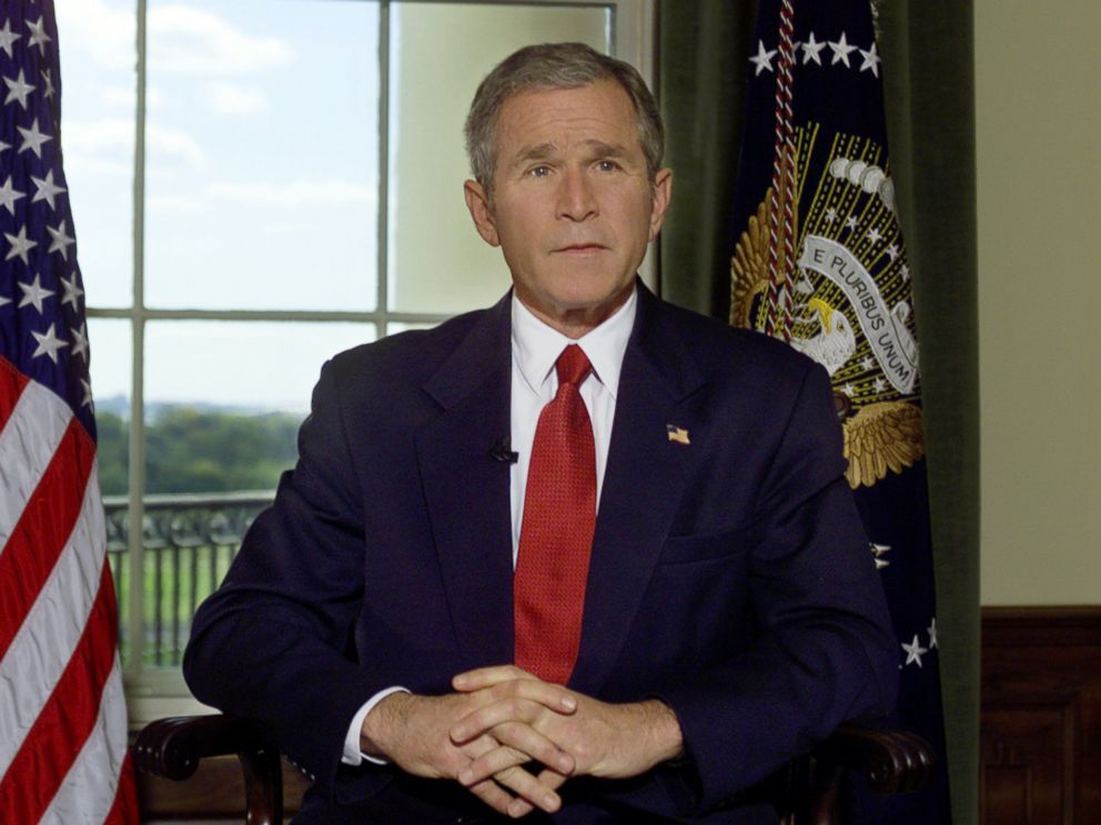 PHOTO: President Bush poses for a photo in the Treaty Room of the White House in Washington, D.C., Oct. 7, 2001, after announcing airstrikes on Afghanistan.
