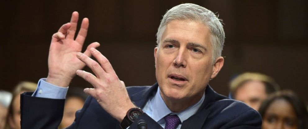 PHOTO: Neil M. Gorsuch testifies before the Senate Judiciary Committee on his nomination to be an associate justice of the US Supreme Court during a hearing in the Hart Senate Office Building in Washington, March 21, 2017.