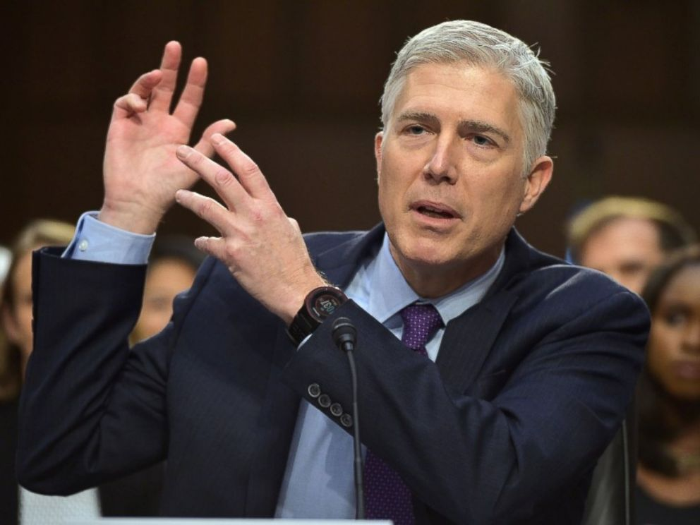 PHOTO: Neil M. Gorsuch testifies before the Senate Judiciary Committee on his nomination to be an associate justice of the US Supreme Court during a hearing in the Hart Senate Office Building in Washington on March 21, 2017.