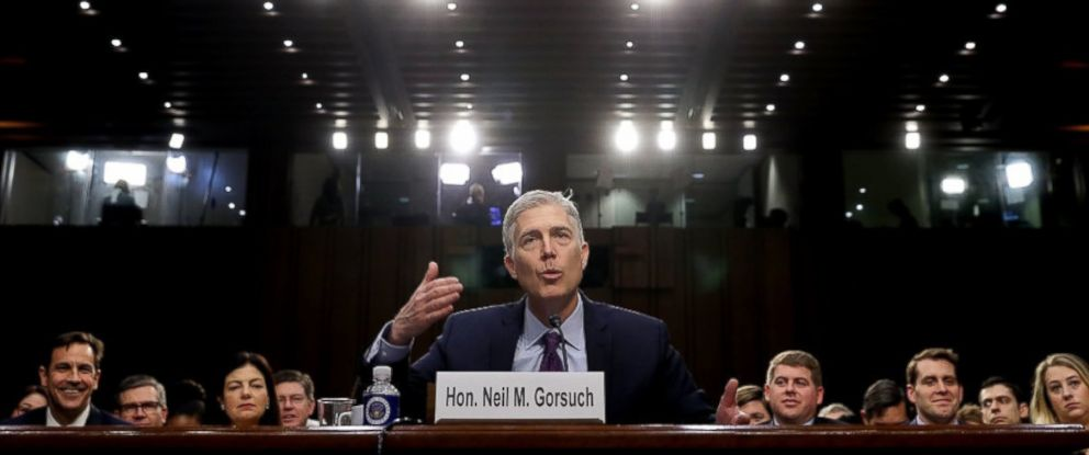 PHOTO: Judge Neil Gorsuch testifies during the second day of his Supreme Court confirmation hearing before the Senate Judiciary Committee in the Hart Senate Office Building on Capitol Hill March 20, 2017 in Washington.