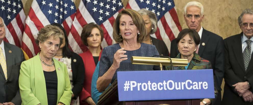 PHOTO: House Minority Leader Nancy Pelosi (D-CA), flanked by House Democrats, speaks about the Affordable Care Act on Capitol Hill, Jan. 12, 2017, in Washington. Leader Pelosi discussed issues surrounding the repeal of the ACA.