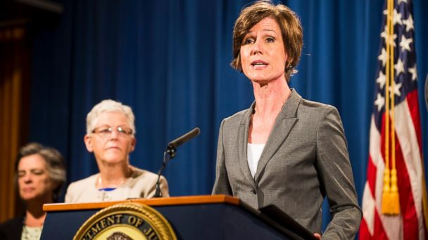 PHOTO: Deputy Attorney General Sally Q. Yates speaks during a press conference at the Department of Justice on June 28, 2016 in Washington, DC.