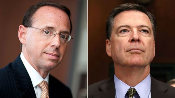 PHOTO: Deputy Attorney General Rod J. Rosenstein in Baltimore, Maryland, Aug. 1, 2011. | Former FBI Director James Comey in Washington, May 3, 2017.