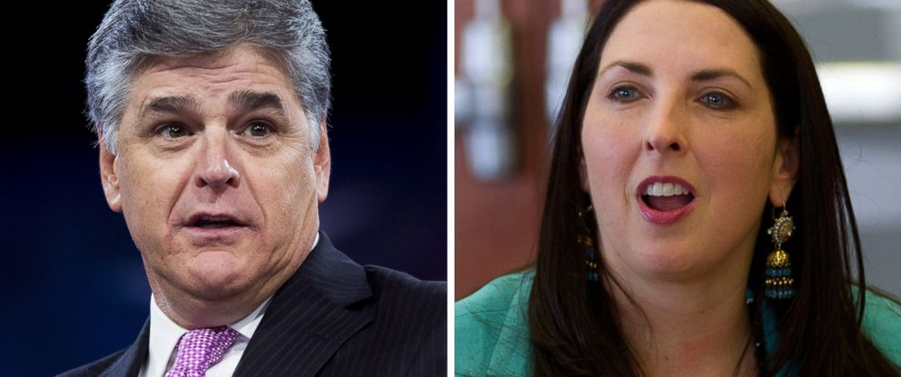 PHOTO: Sean Hannity speaks in Maryland, March 4, 2016 and Ronna Romney McDaniel talks in Lansing, Mich., May 5, 2017.