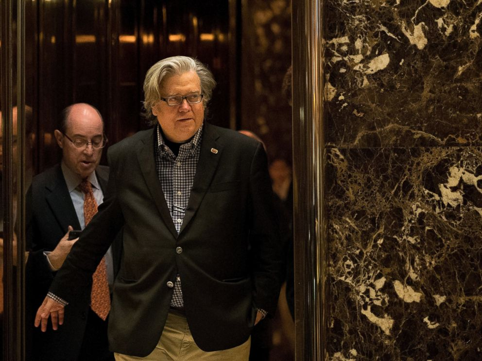 PHOTO: Steve Bannon exits an elevator in the lobby of Trump Tower, Nov. 11, 2016, in New York.