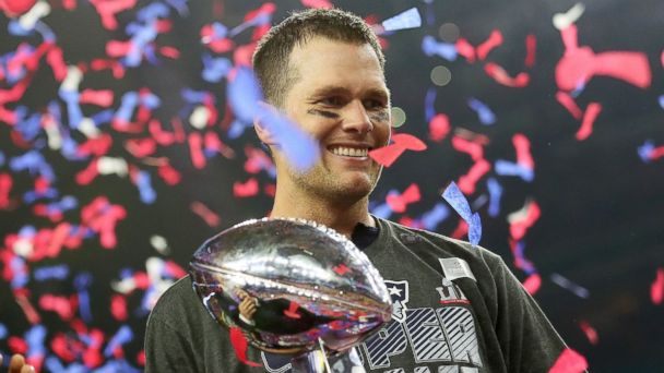 PHOTO: Tom Brady #12 of the New England Patriots holds the Vince Lombardi Trophy after defeating the Atlanta Falcons 34-28 in overtime during Super Bowl 51 at NRG Stadium, Feb. 5, 2017, in Houston.