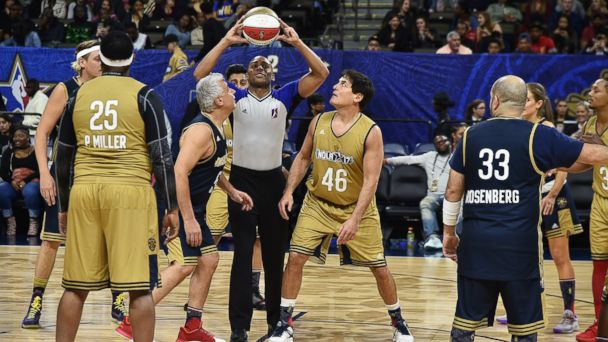PHOTO: Marc Lasry and Mark Cuban face off during the 2017 NBA All-Star Celebrity Game at Mercedes-Benz Superdome, Feb. 17, 2017 in New Orleans.