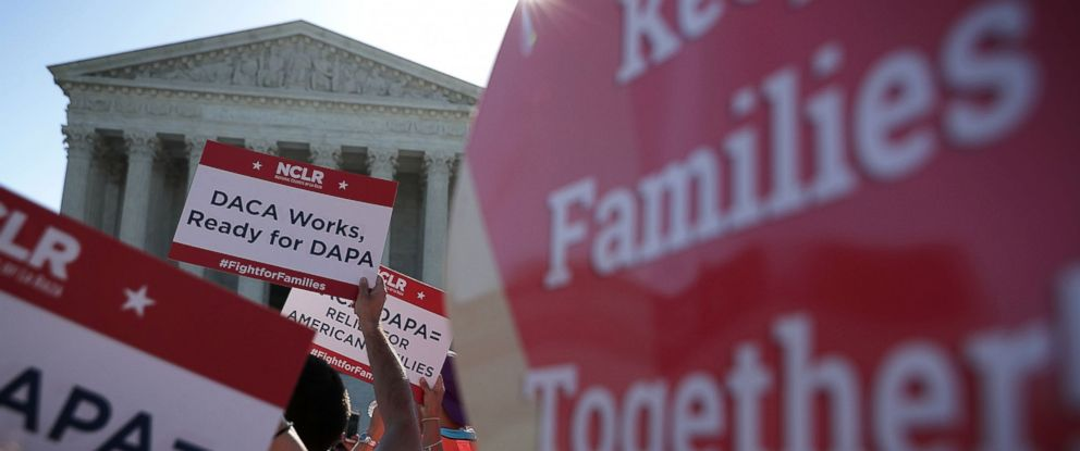 PHOTO: Pro-immigration activists gather in front of the U.S. Supreme Court, April 18, 2016, in Washington.