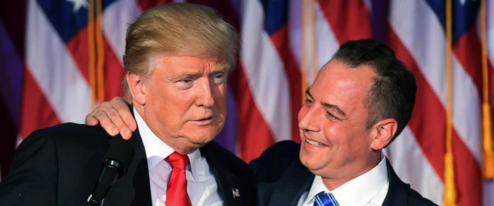 PHOTO: Chairman of the Republican National Committee Reince Priebus hugs President-elect Donald Trump during election night at the New York Hilton Midtown in New York on Nov. 9, 2016.