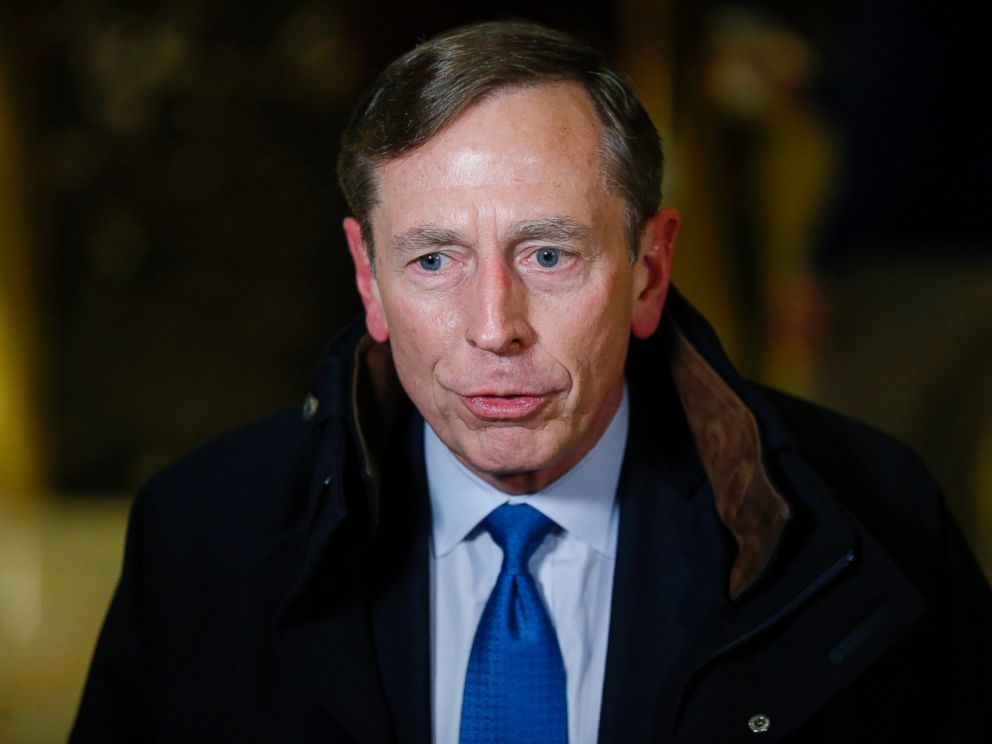 PHOTO: Ret. General and former CIA Director, David Petraeus leaves after meetings with President-elect Donald Trump on Nov. 28, 2016 at Trump Tower in New York.